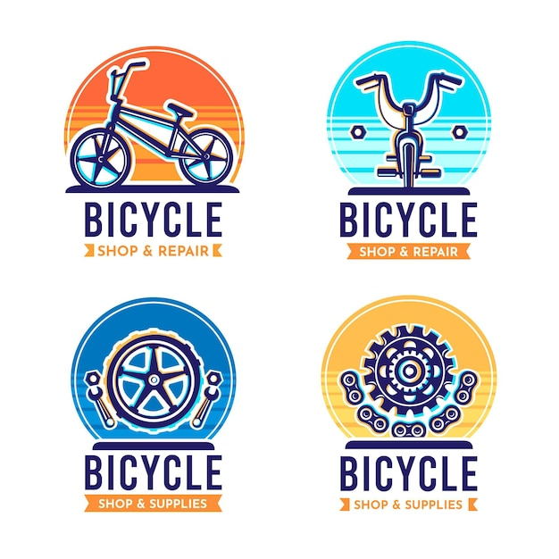 Flat bike logo kollektion Kostenlosen Vektoren