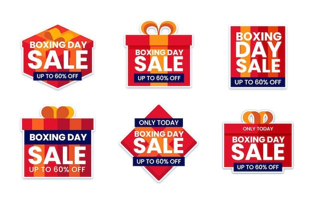 Flat boxing day sale etikettenset Kostenlosen Vektoren