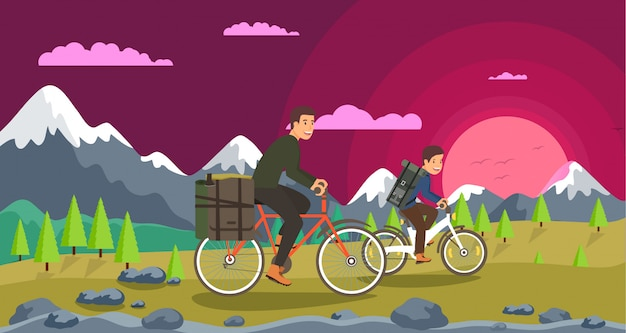 Flat cycling gemeinsame freizeit eltern und kinder. Premium Vektoren