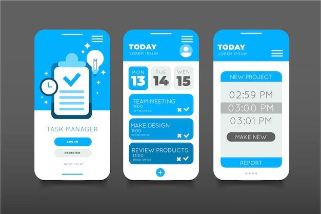 Flat design aufgabenverwaltung app-sammlung Kostenlosen Vektoren