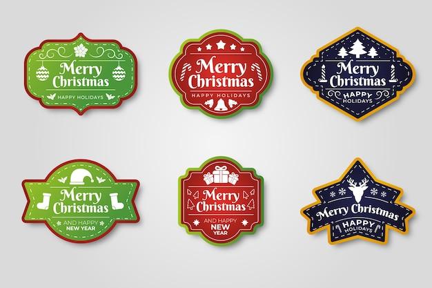 Flat design christmas label collection Kostenlosen Vektoren