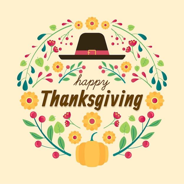 Flat design thanksgiving hintergrund Kostenlosen Vektoren
