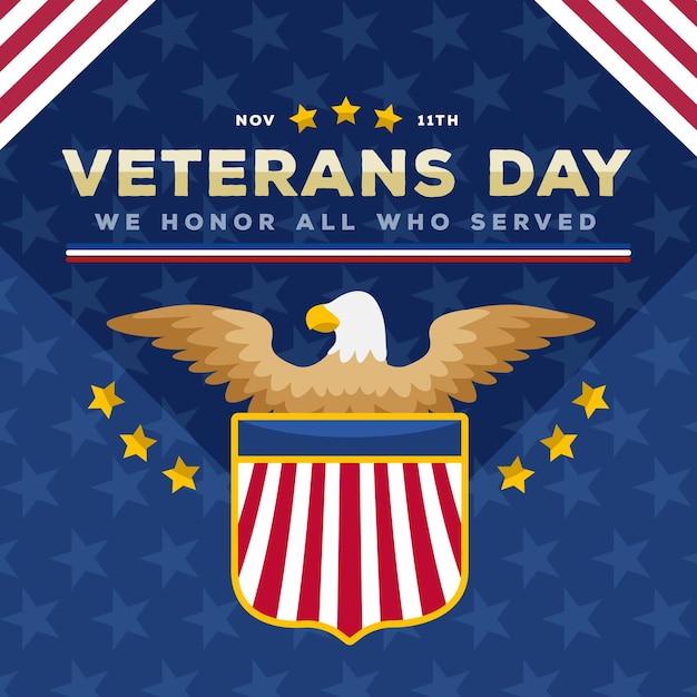 Flat design veterans day event Kostenlosen Vektoren