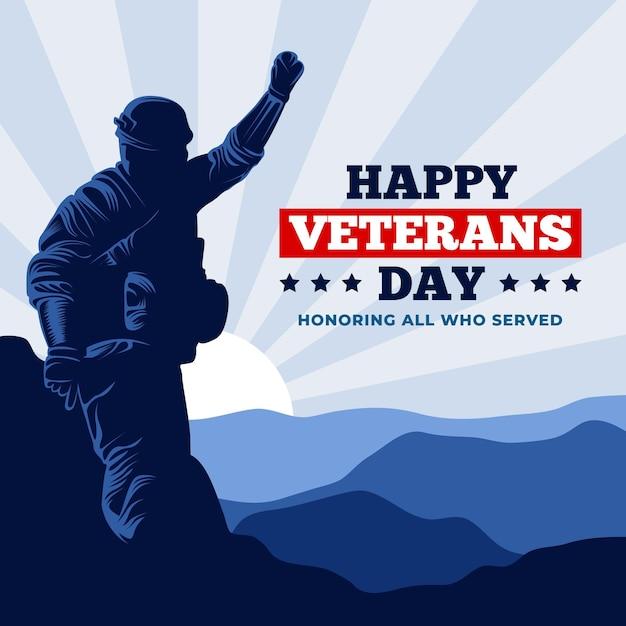 Flat design veterans day event Premium Vektoren