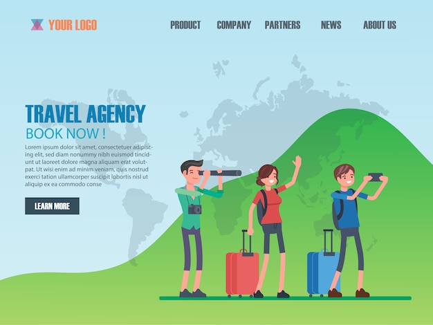 Flat-design-webseitenvorlagen für reisebüros Premium Vektoren