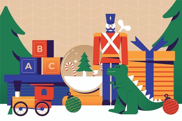 Flat design weihnachtsspielzeug hintergrund Kostenlosen Vektoren