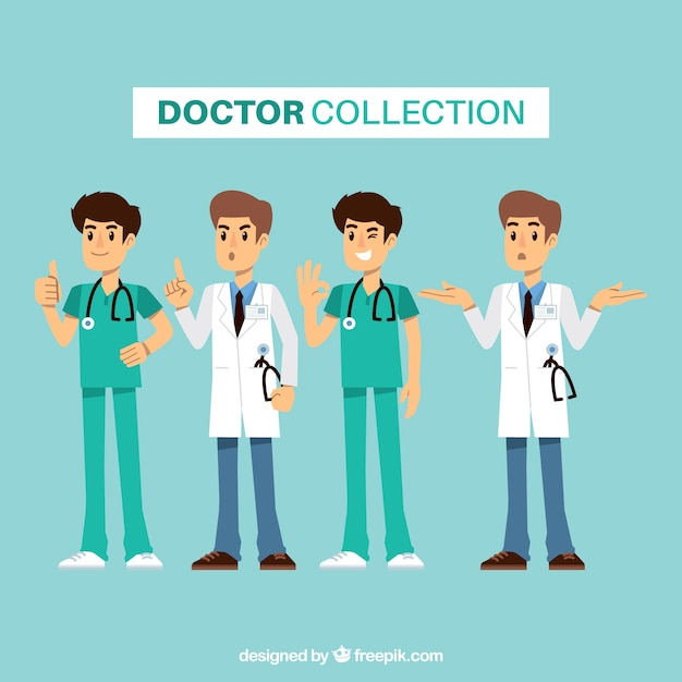 Flat doctor kollektion mit verschiedenen ausdrücken Premium Vektoren