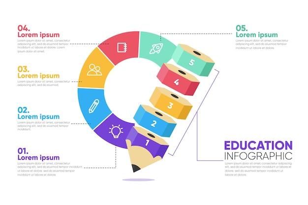 Flat education infografiken konzept Kostenlosen Vektoren