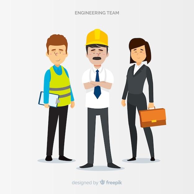 Flat engineering-team bei der arbeit Kostenlosen Vektoren