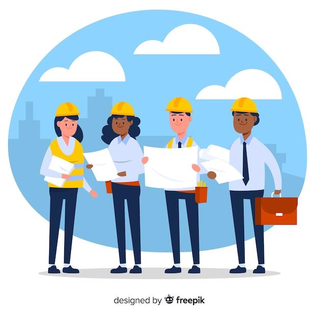Flat engineering team hintergrund Kostenlosen Vektoren