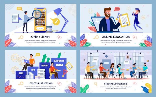 Flat express education foliensatz Premium Vektoren
