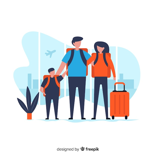 Flat familienreisen Kostenlosen Vektoren
