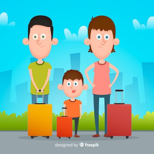 Flat family travelling background Kostenlosen Vektoren