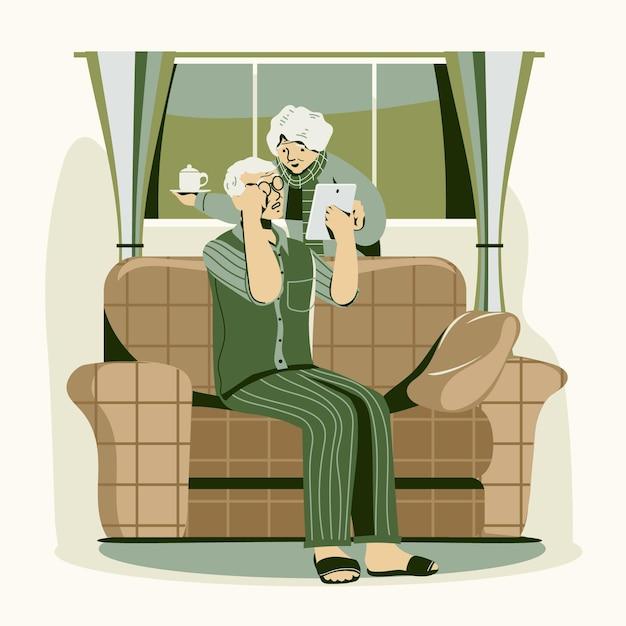 Flat-hand gezeichneter senior mit technologie Kostenlosen Vektoren