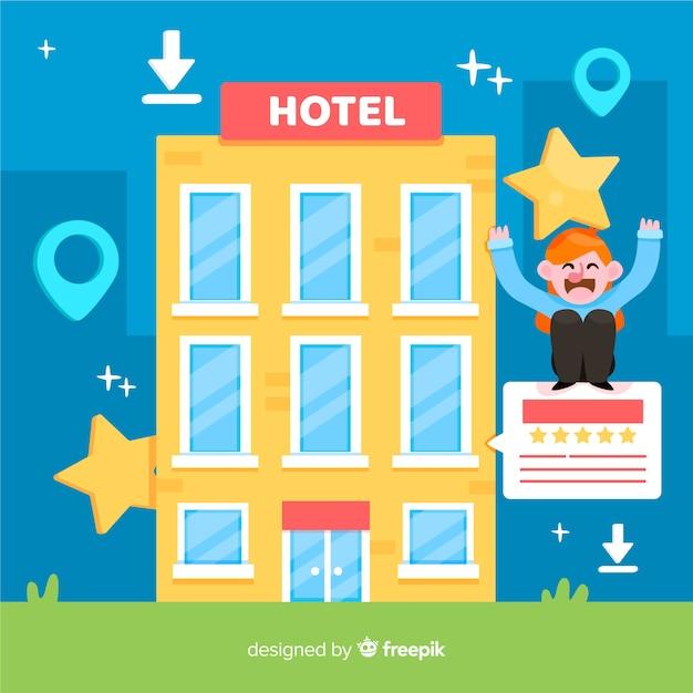 Flat hotel review konzept hintergrund Kostenlosen Vektoren