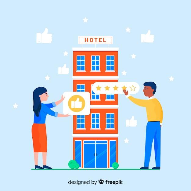 Flat hotelbewertung hintergrund Kostenlosen Vektoren