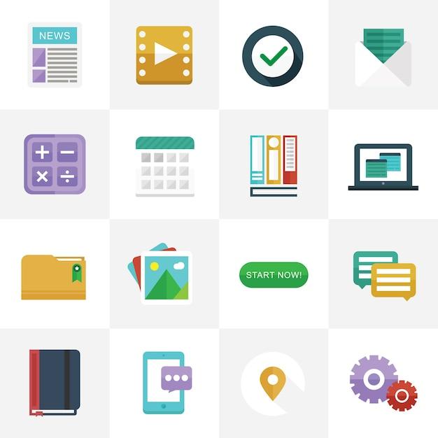 Flat icons für ui design Premium Vektoren