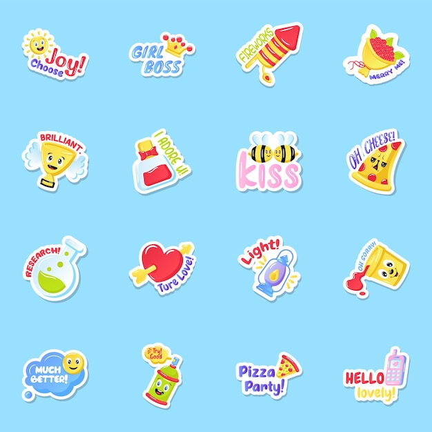 Flat joy und fun sticker set Premium Vektoren