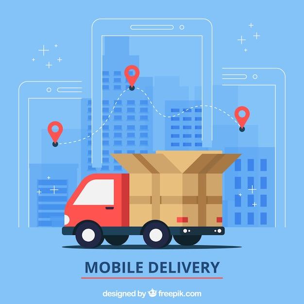 Flat lieferwagen in der stadt Kostenlosen Vektoren