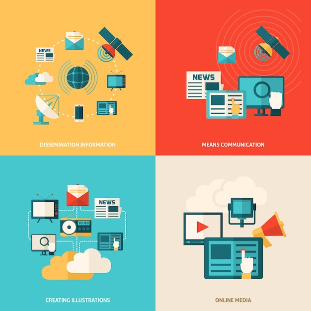 Flat media set Kostenlosen Vektoren