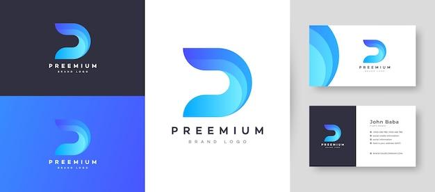 Flat minimal initial d dd letter logo mit premium-visitenkarten-design-vorlage für ihr unternehmen Premium Vektoren