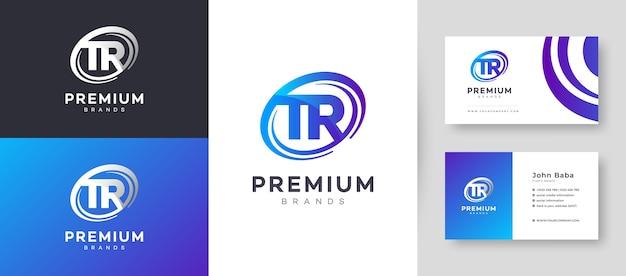 Flat minimal initial tr rt letter logo mit premium-visitenkarten-design-vorlage für ihr unternehmen Premium Vektoren