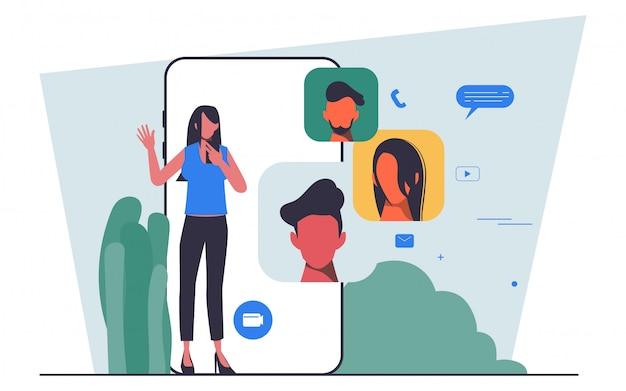 Flat people charakter business team meeting über eine videokonferenz telefon flat people design gehalten. Premium Vektoren