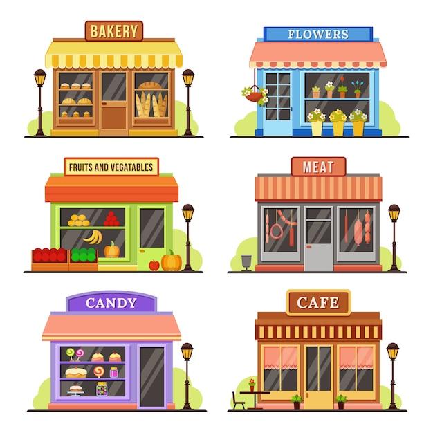 Flat store modernes geschäft, boutique-laden und restaurantfassade Premium Vektoren