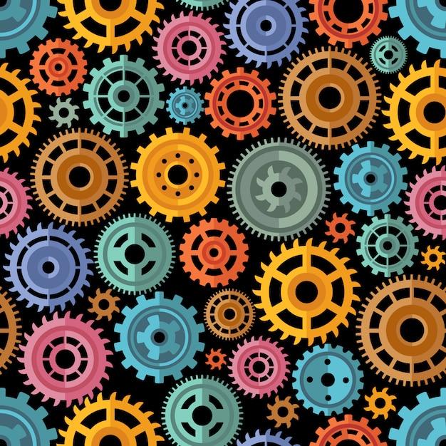 Flat style color gears-muster Kostenlosen Vektoren