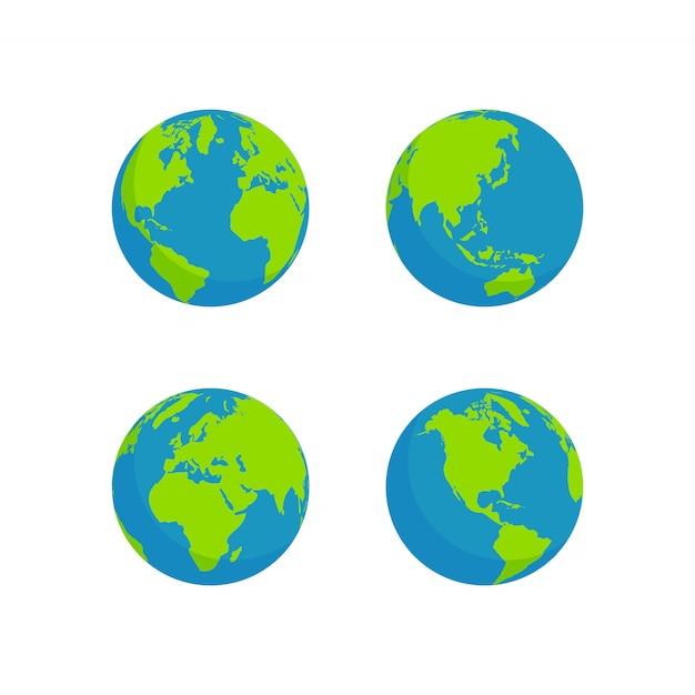 Flat style globe design Premium Vektoren