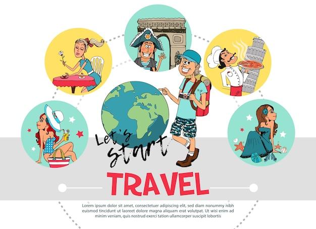 Flat travel round konzept Kostenlosen Vektoren