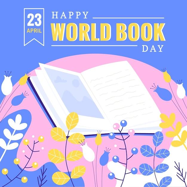 Flat world book day konzept Kostenlosen Vektoren