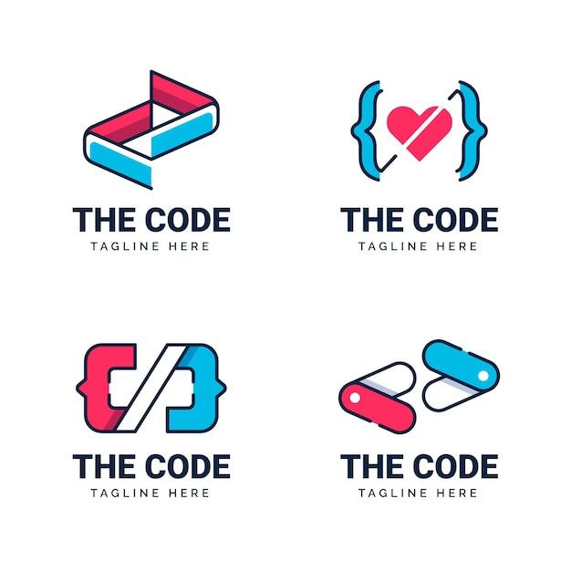 Flatcode-logo-sammlung Kostenlosen Vektoren
