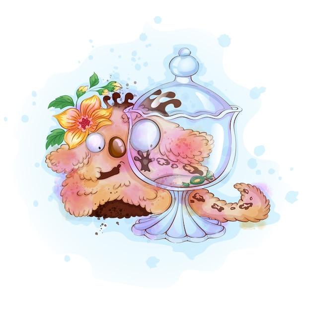 Flaumiges monster der lustigen süßen vanille betrachtet einen glasvase mit süßigkeit. Premium Vektoren