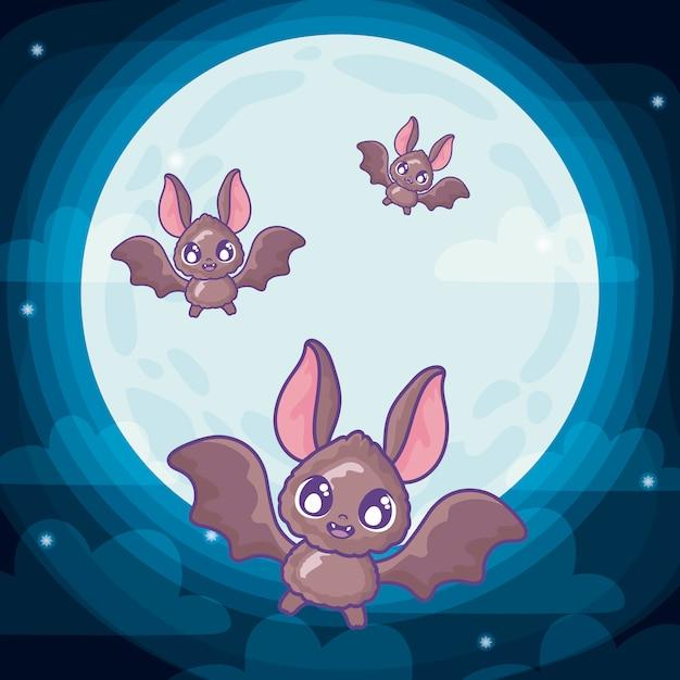 Fledermäuse fliegen auf halloween-szene Premium Vektoren