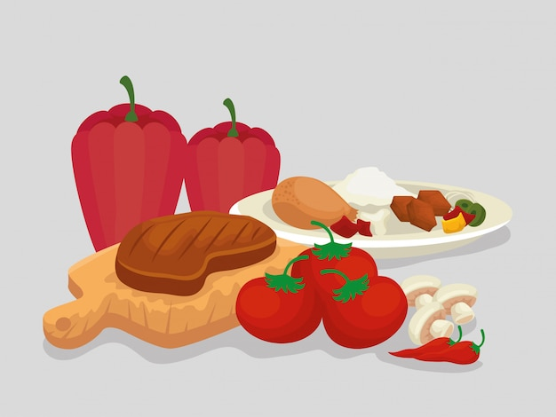 Fleisch mit wurstnahrung mit reis und gemüse Kostenlosen Vektoren