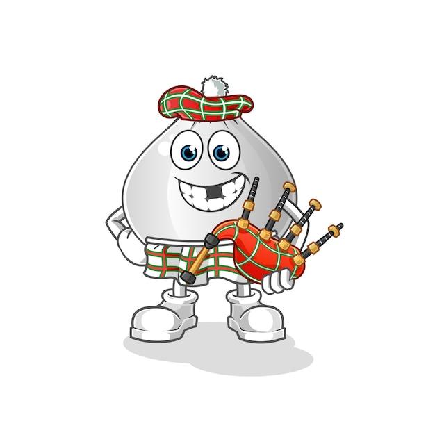 Fleischbrötchen schottisch mit dudelsack-zeichentrickfigur Premium Vektoren