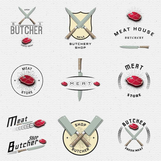 Fleischladen logos und etiketten für jeden einsatz Premium Vektoren