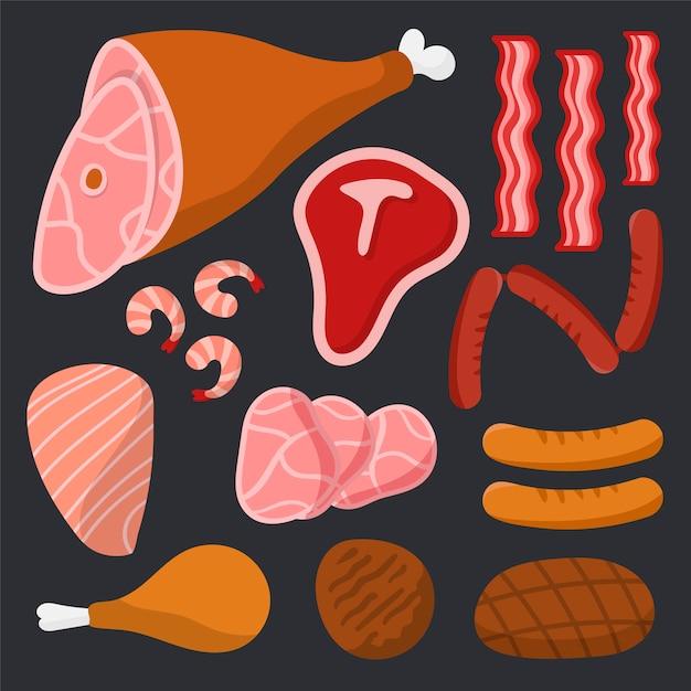 Fleischsatz auf schwarzem hintergrund Kostenlosen Vektoren