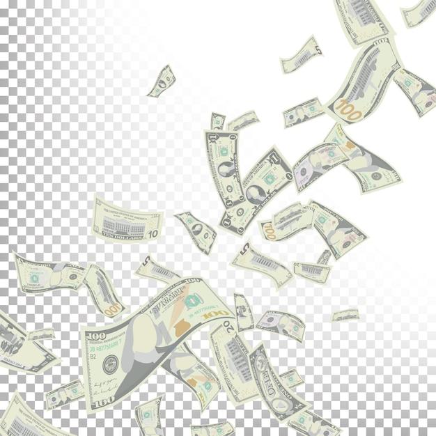 Fliegende dollar-banknoten Premium Vektoren
