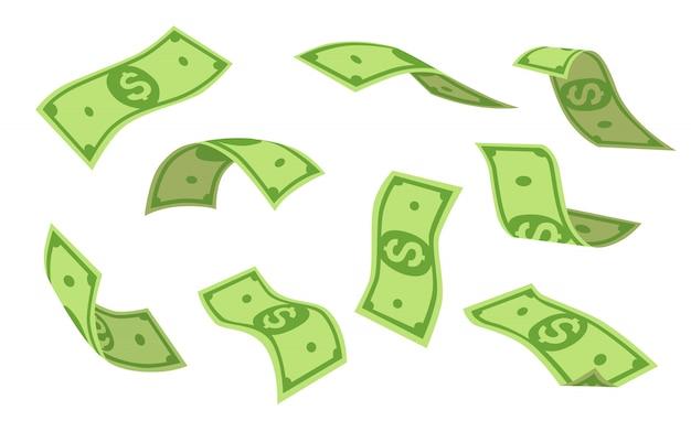 Fliegende dollars gesetzt Kostenlosen Vektoren