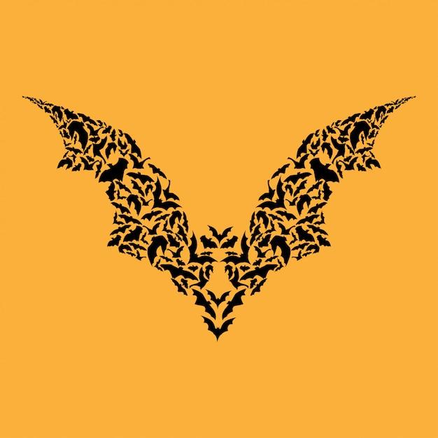 Fliegende fledermaus silhouette halloween Premium Vektoren