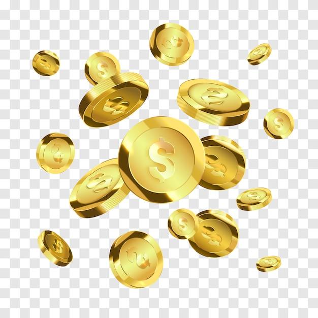Fliegende goldmünzen isoliert. vektor geld Premium Vektoren