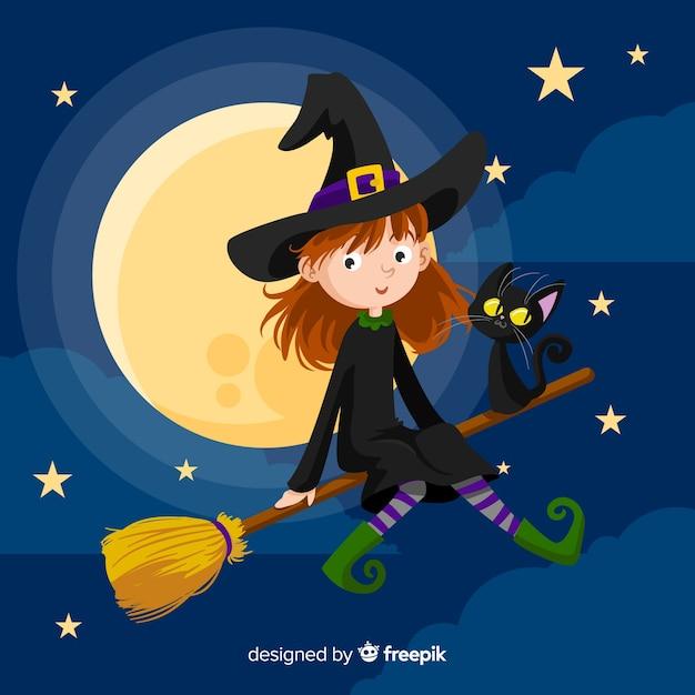 Fliegende hexe halloween hintergrund Kostenlosen Vektoren
