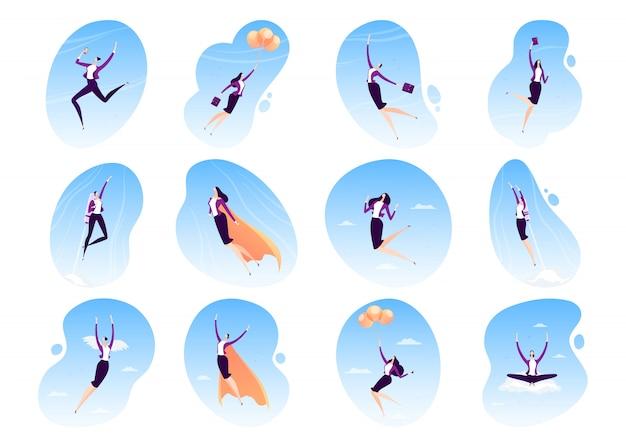 Fliegende illustration des superhelden der geschäftsfrau, superheld der geschäftsfrau im umhang, karriere, führungskonzeptikonensatz lokalisiert auf weiß Premium Vektoren