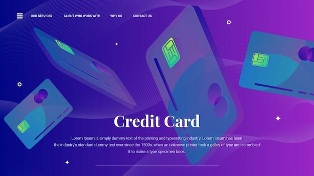 Fliegende kreditkarte auf landingpage oder web template Premium Vektoren