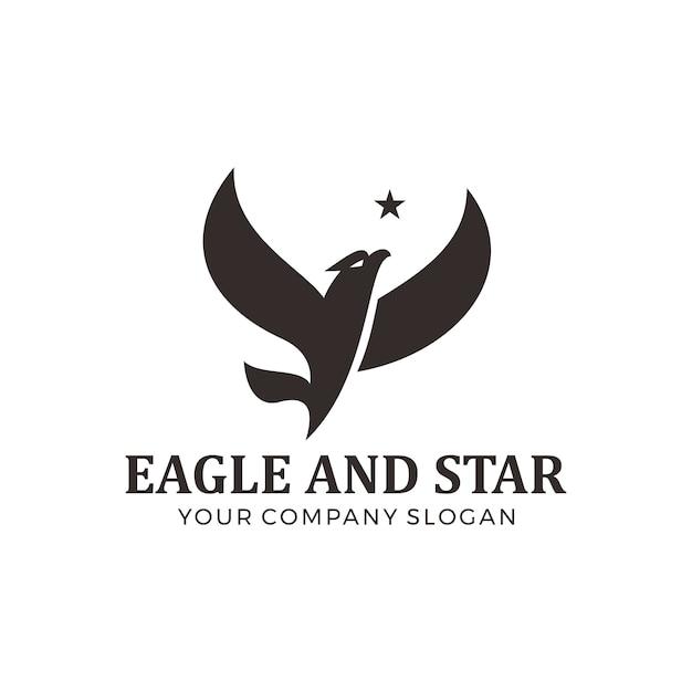 Fliegender adler mit stern-logo-design Premium Vektoren