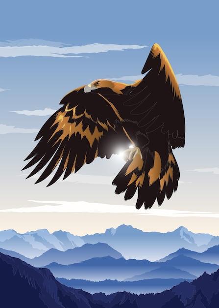 Fliegender Adler Premium Vektor