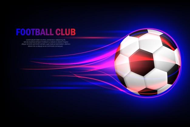 Fliegender fußball. fußballverein. flammender fußball 3d Premium Vektoren