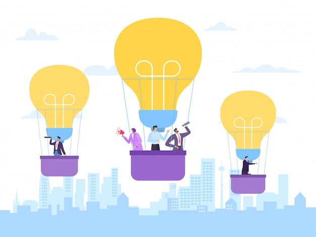 Fliegender heißluftballon, geschäftsidee, illustration. innovations erfolgreiches projekt, mann frau leute firmenangestellter Premium Vektoren